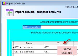Import actuals to budget in Visual Cash Focus