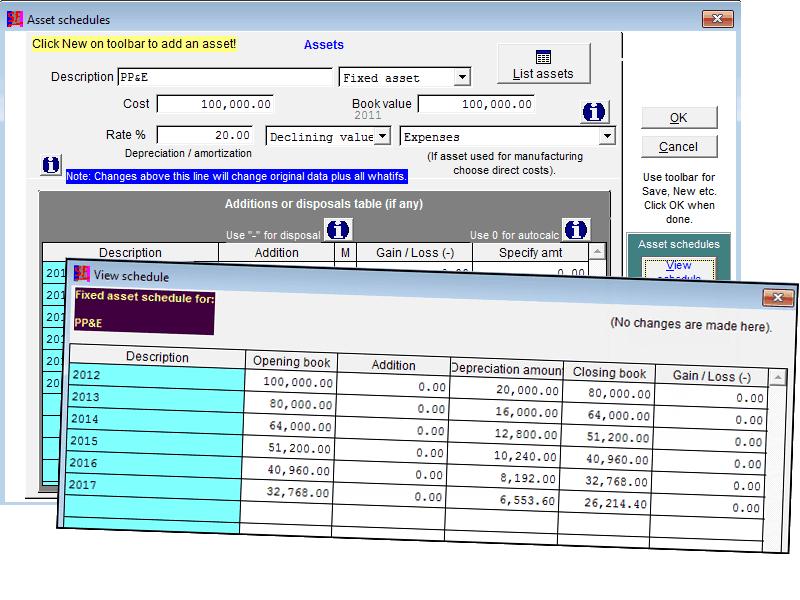 Fixed asset schedule in Startegic Focus