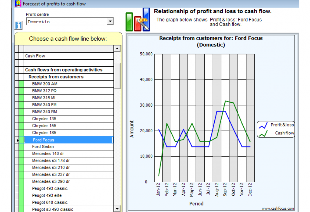 Profit vs ash flow relationship graph report in Visual Cash Focus
